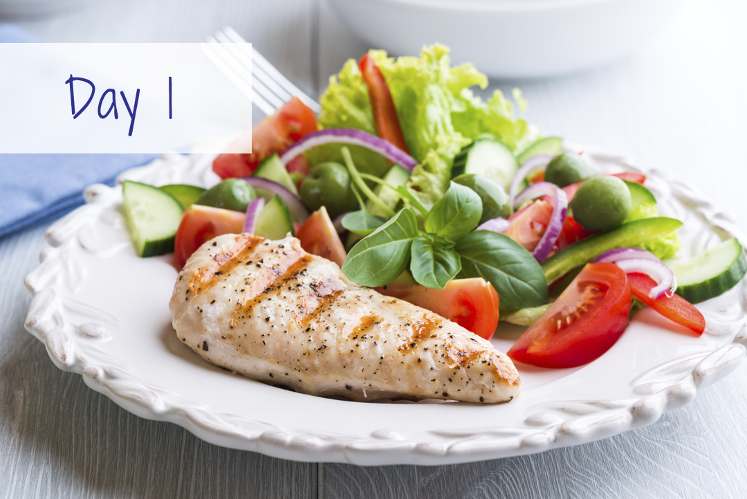 Chicken and salad HCG recipe plan