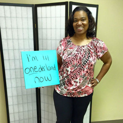 Michelle has reached ONEderland weight loss - she's below 200 pounds!